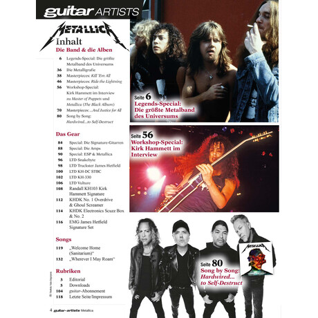 METALLICA - guitar artists Printausgabe oder PDF Download
