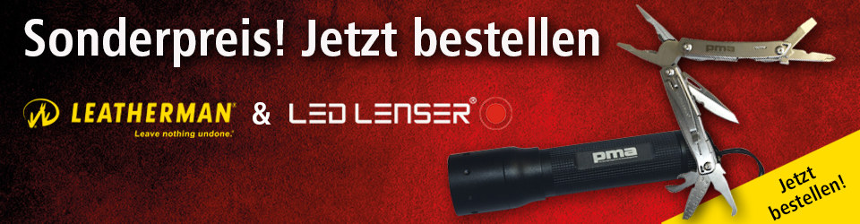 Leatherman Wingman und Led Lenser P5E