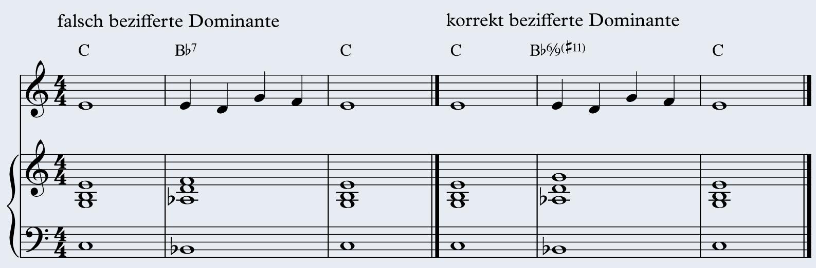 Notenbeispiel 3: Harmonielehre � falsch/korrekt bezifferte Dominante