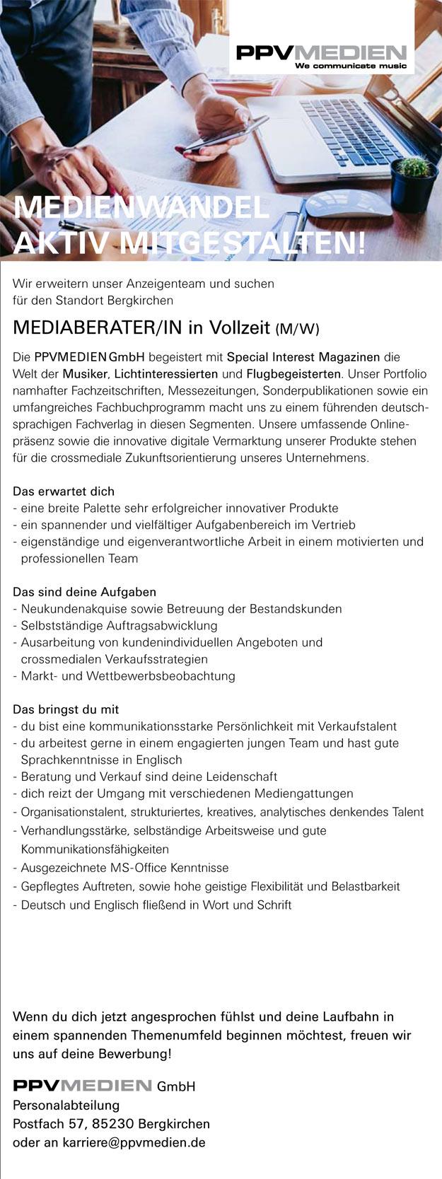 Mediaberater/in in Vollzeit (m/w)